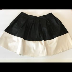 ASOS faux leather color block white black skirt